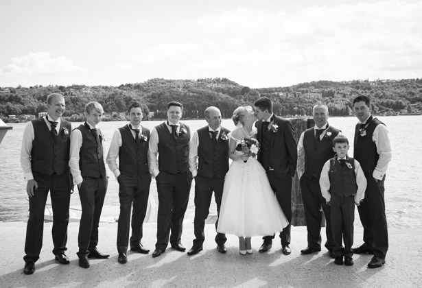 The newlyweds with their wedding guests
