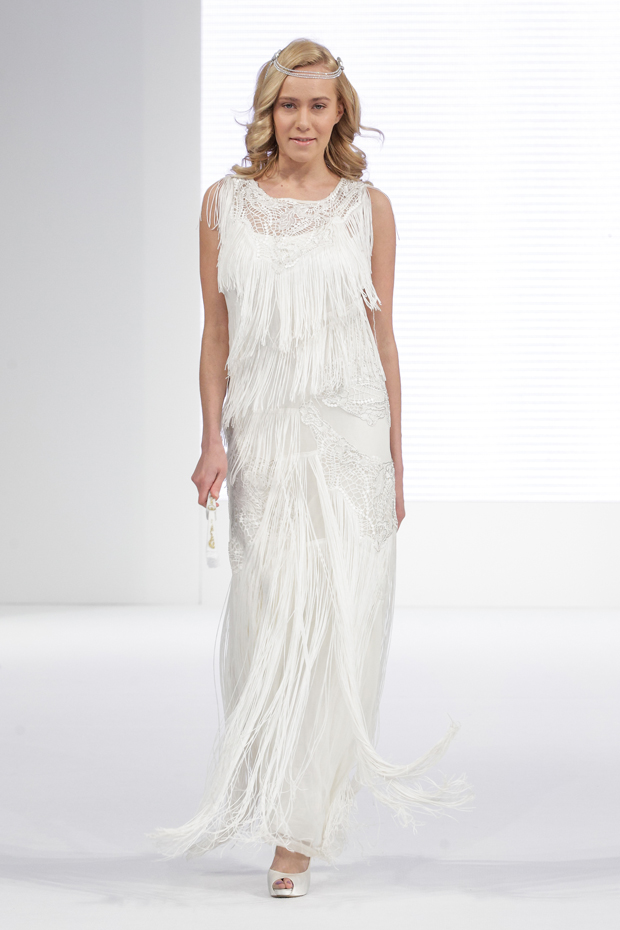 1920s inspired fringe detail wedding dress