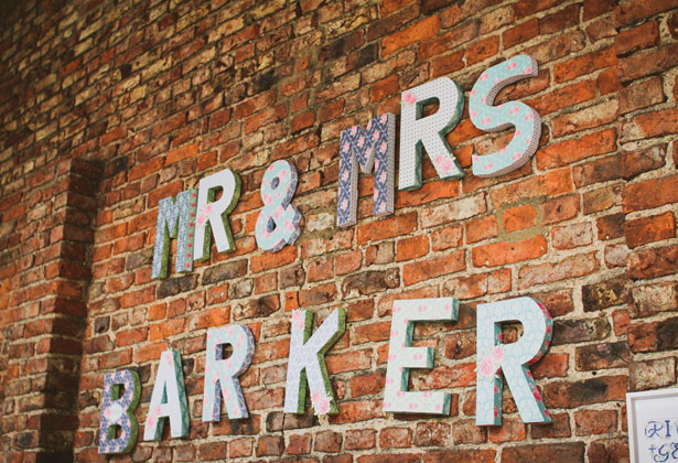 'Mr and Mrs Barker ' sign