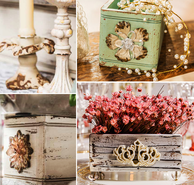 Simple elegance rustic shabby chic wedding theme for Decoration table shabby chic