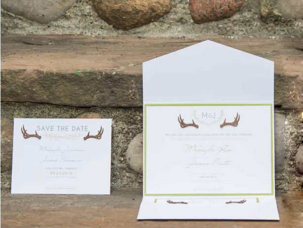 Woodland themed wedding stationary