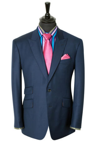 Grooms modern menswear suit by King and Allen