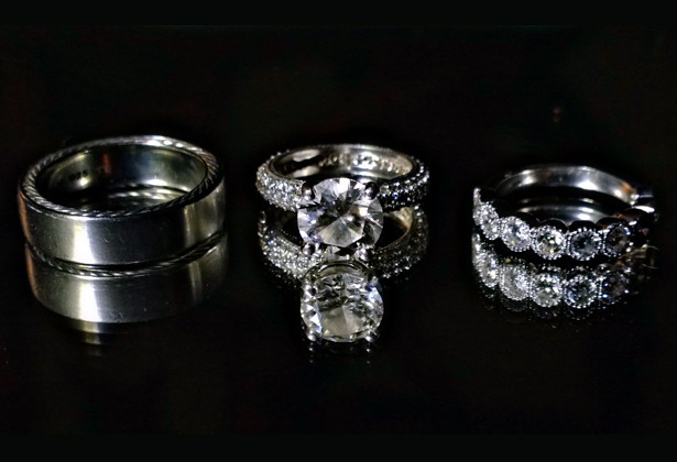 His and her silver wedding rings