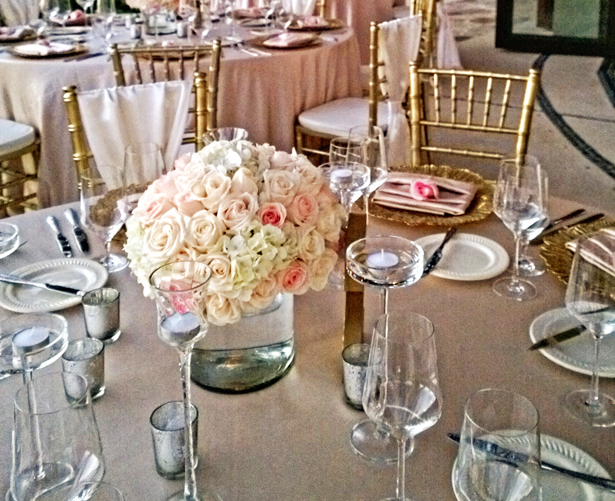 Blush and gold themed wedding reception