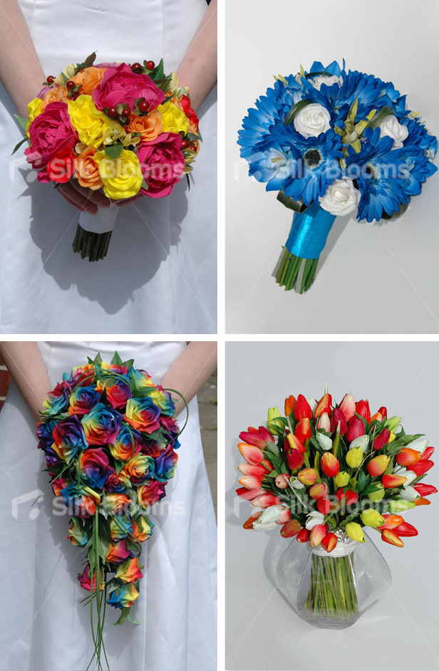 Silk Blooms colour spring wedding bouquets with vibrant, colourful flowers