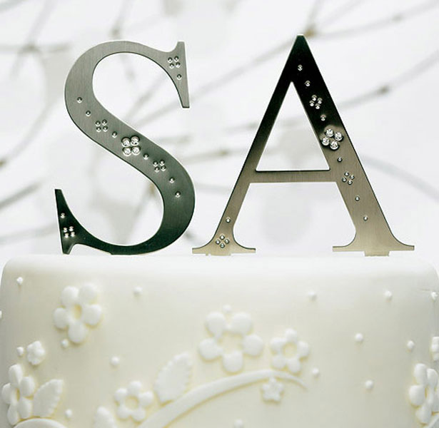 Silver Monograms with Crystals