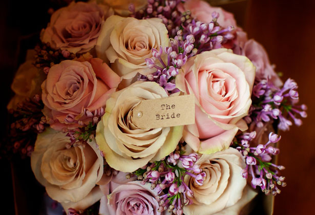 Blush pink and purple rose bridal bouquet