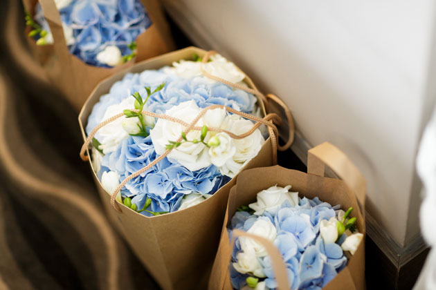 Blue and white hydrangeas wedding bouquets