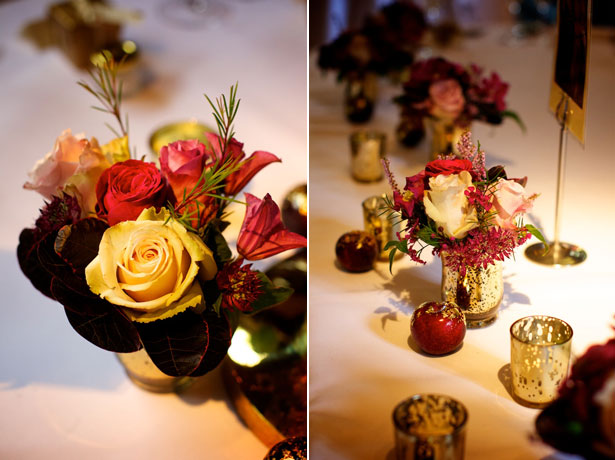Rich Champagne and purple wedding flowers and table setting