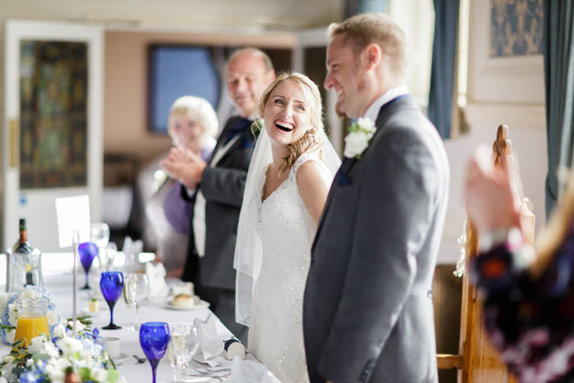 Bride and groom at the top table
