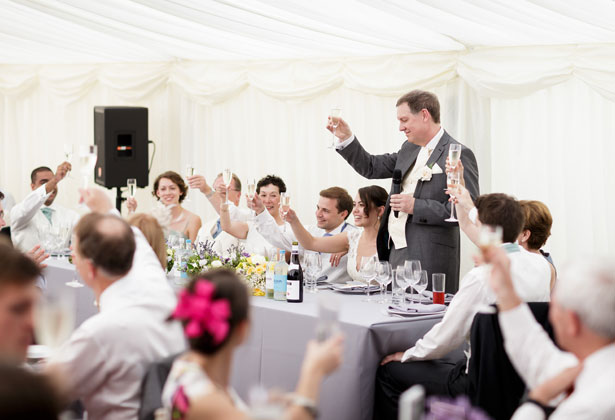 Father of the bride toasting the marriage