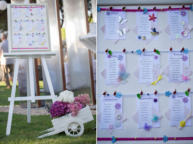 White seating plan with charms and floral details