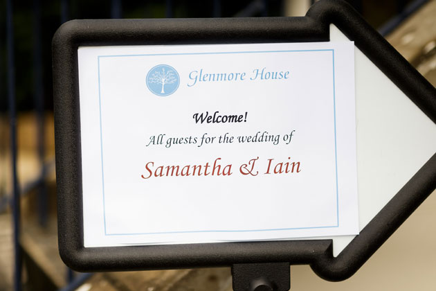 Welcome sign for Samantha and Iain's wedding