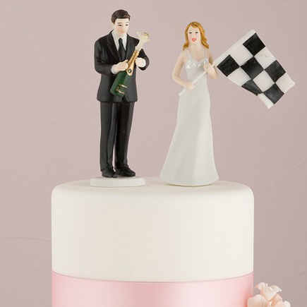 Funny Cake Toppers - Bride at Finish Line with Victorious Groom Figurine   Confetti.co.uk