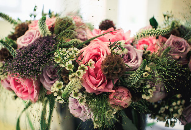 Rustic Flower Arrangements with Pink Roses