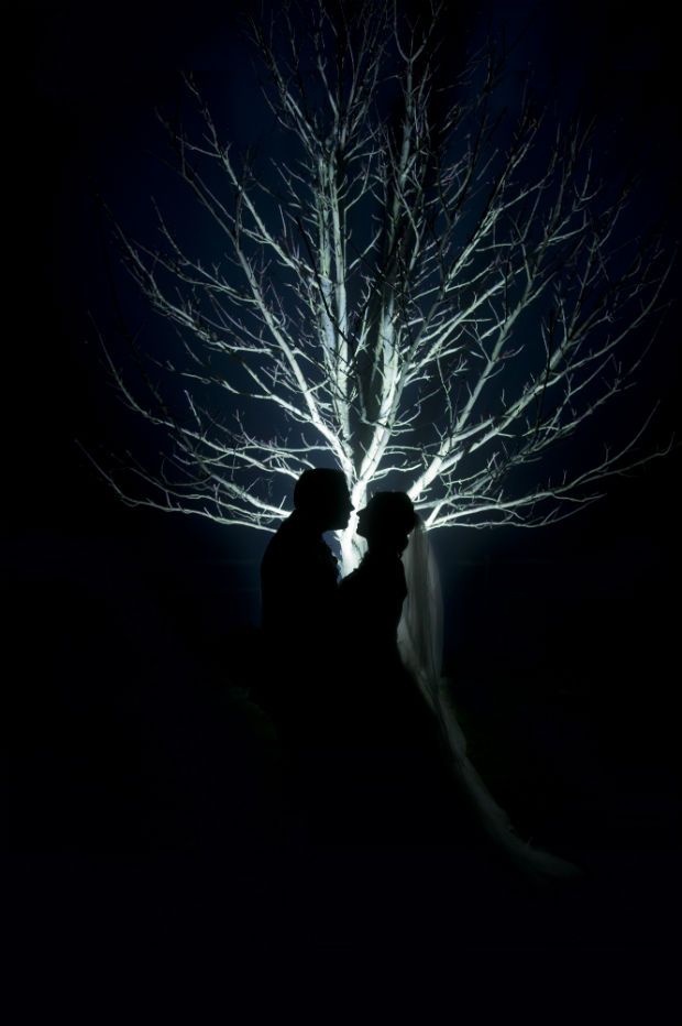 Bride and groom under backlit tree by Halo and Hobby