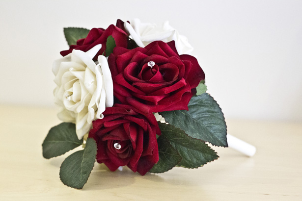 Budding Sensations Artificial Red and White Rose Bouquet