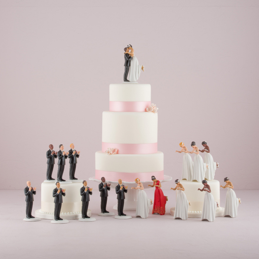 Interchangeable True Romance Bride and Groom Cake Toppers   Confetti.co.uk