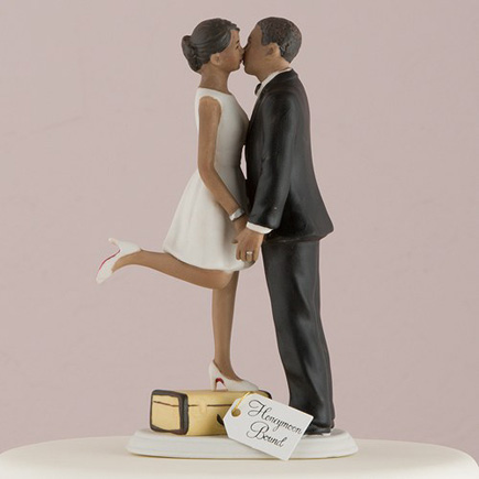 """Mix and Match Bridal Cake Toppers - """"A Kiss And We're Off!"""" Figurine - Dark Skin Tone - Travel Wedding Theme Decor - Wanderlust Bride Cake Topper   Confetti.co.uk"""