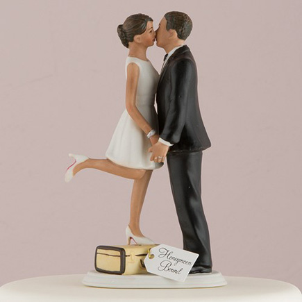 """Mix and Match Bride Cake Toppers - """"A Kiss And We're Off!"""" Figurine - Medium Skin Tone - Wanderlust Wedding Ideas - Travel Inspired Cake Topper   Confetti.co.uk"""