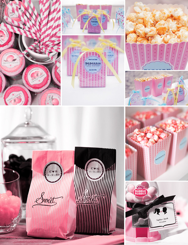 Pink and white 1960s style popcorn and sweets for your wedding
