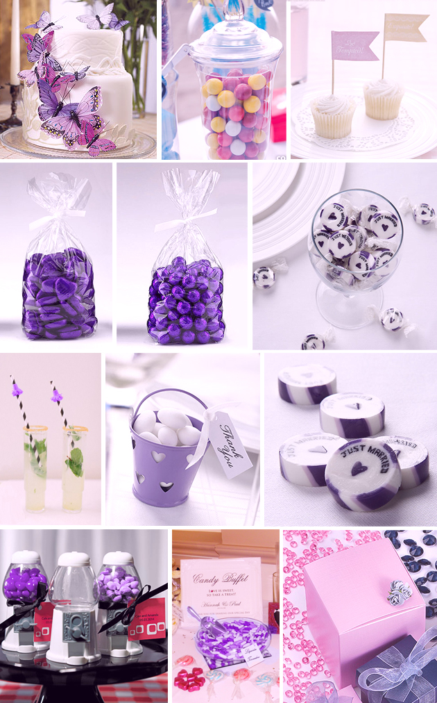 Purple Sweets and wedding favour chocolates