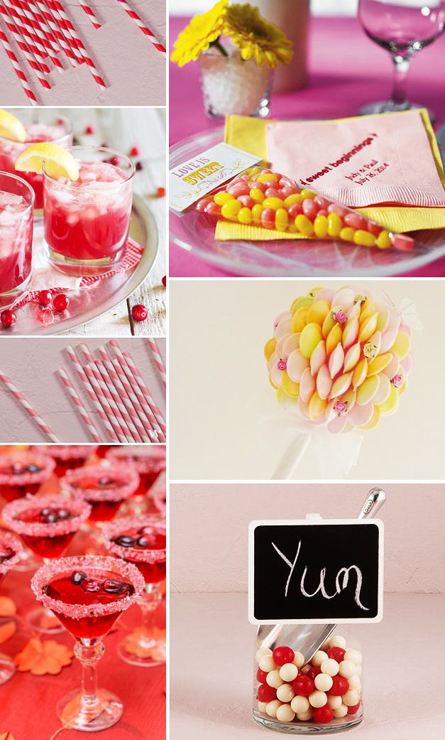 Yellow and red retro style wedding sweets