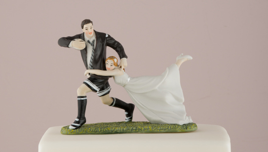 Sports Cake Toppers - Love Tackle Bride and Groom Cake Topper - Rugby Themed Wedding Cake Topper   Confetti.co.uk