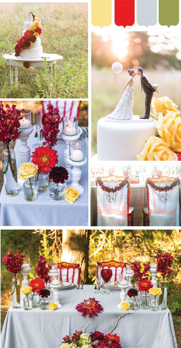 Red and yellow spring wedding inspiration mood board