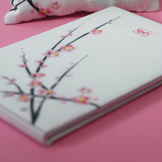 Cherry blossom guest book