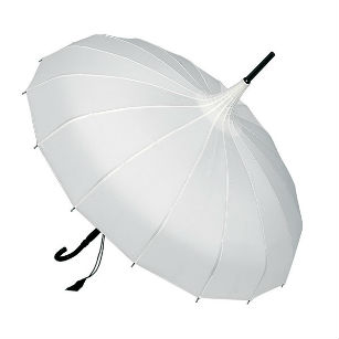 White Edwardian style wedding umbrella