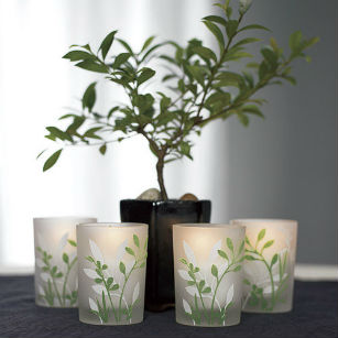 Botanical garden votive candle holder