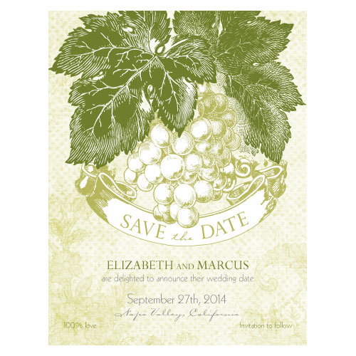 Vintage A Wine Romance Save the Date invitation