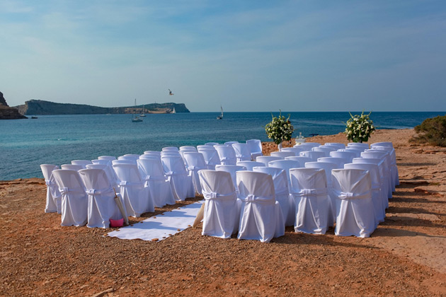 Wedding ceremony at Playa De Comte, Ibiza.