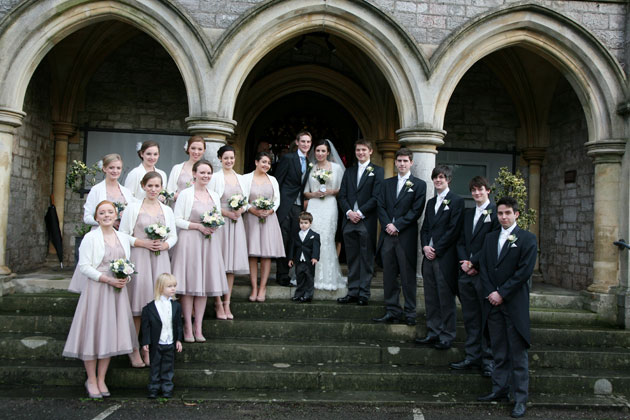 The newlyweds with their bridesmaids and groomsmen