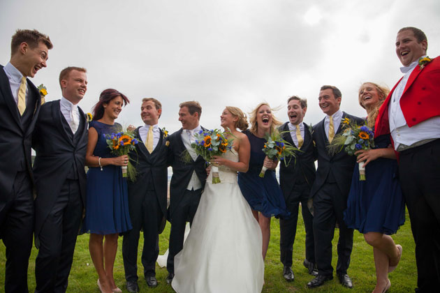 The newlyweds with their bridesmaids and the groomsmen