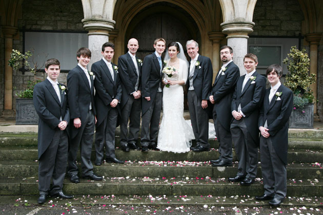 The newlyweds with the groomsmen
