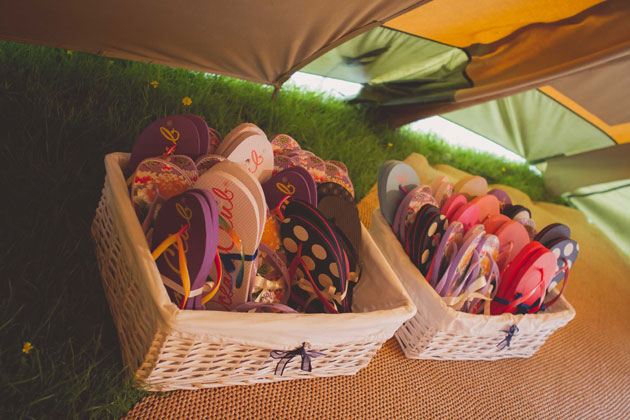 Colourful flip flops for the wedding guests