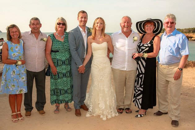 The newlyweds with their family