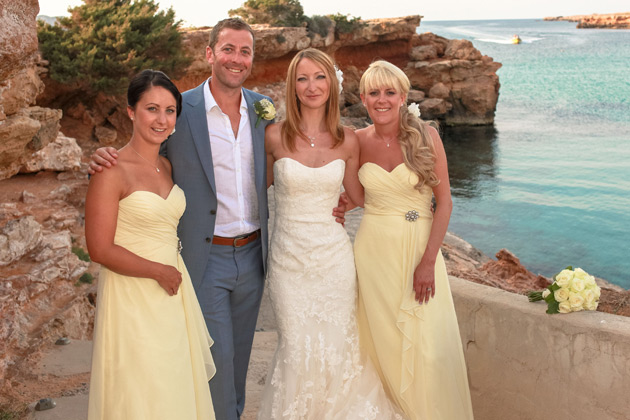 Pale yellow bridesmaids dresses and beach wedding attire courtesy of  Ibiza Wedding Shop