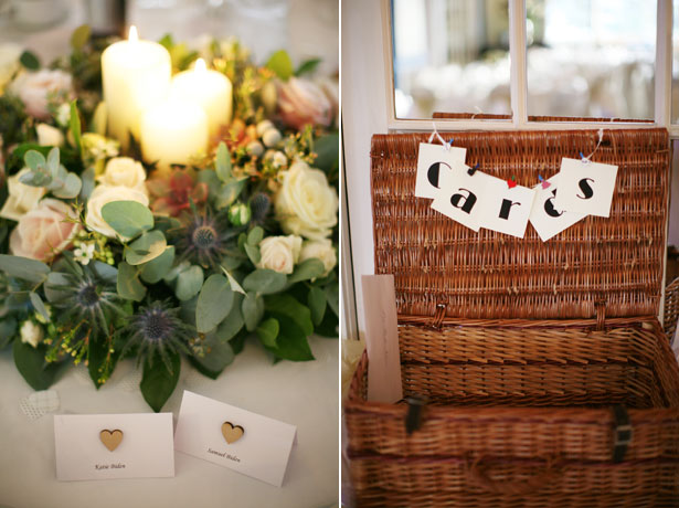 Basket for wedding cards and candle and floral wedding centrepiece