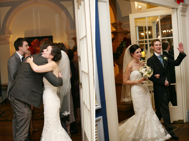 The receiving line and the newlyweds making an entrance