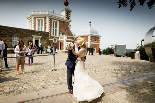 The bride and groom at the Royal observatory, London