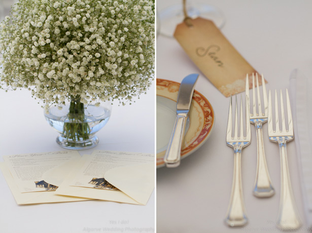 Baby breath centrepiece with vintage place card tags
