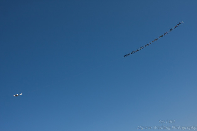 Message in the sky for the bride