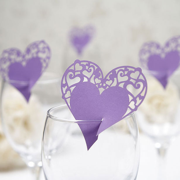 Purple Heart Shaped Place Card