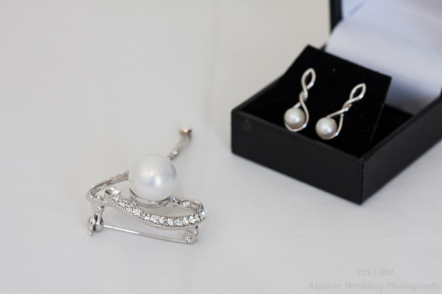 Pearl silver earrings and brooch