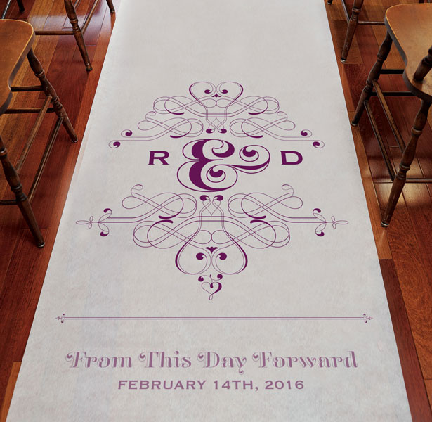 Purple Personalised Aisle Runner