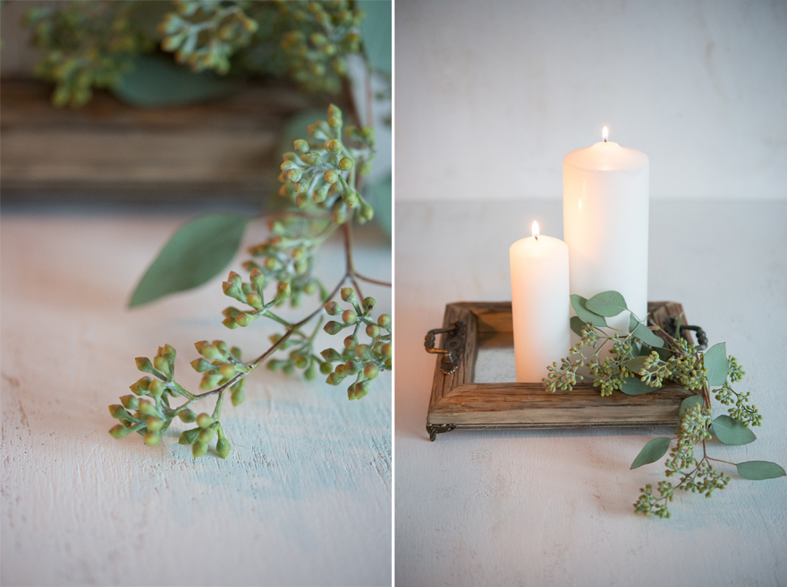 Candles on Vintage Rustic Wooden Tray | Confetti.co.uk