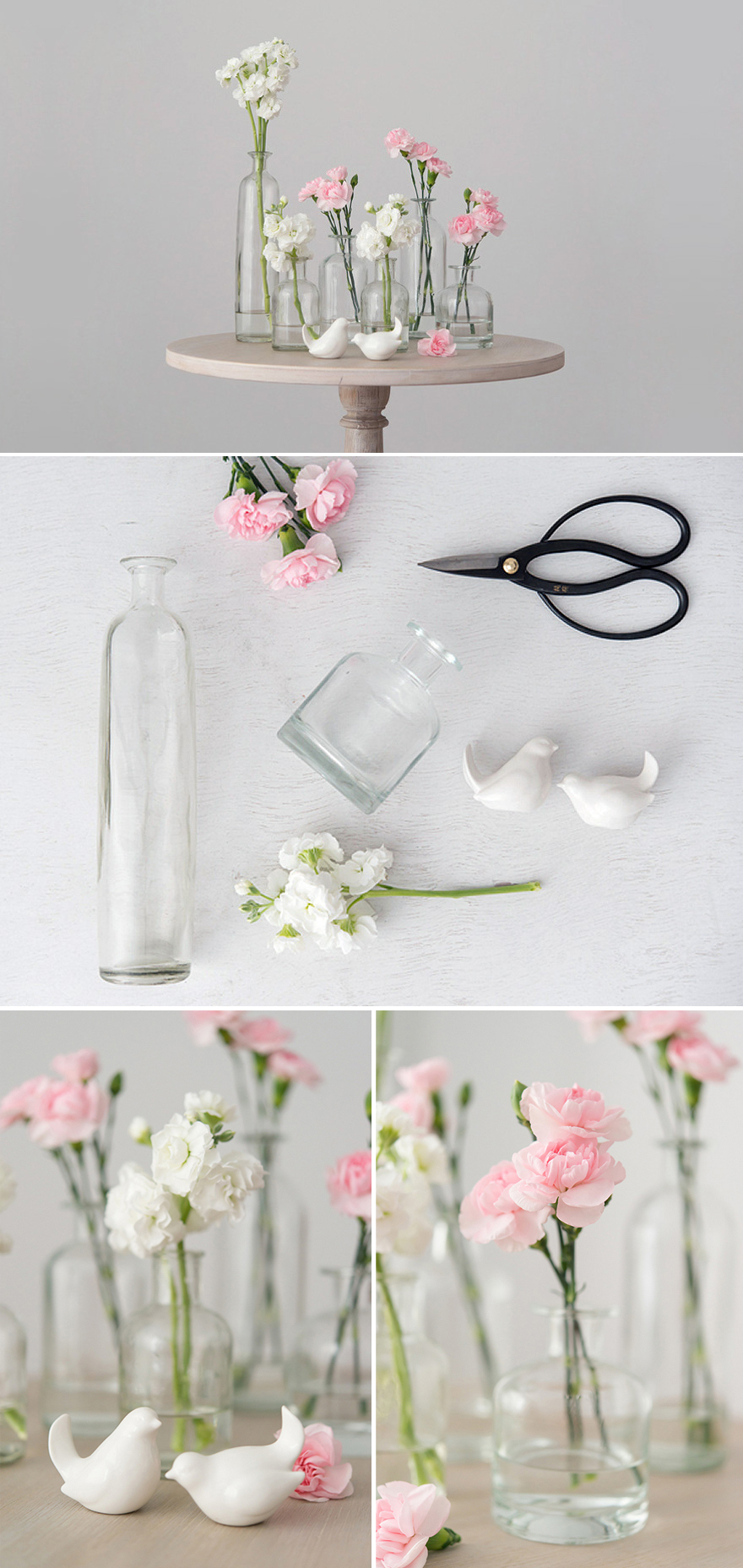 DIY Bird Centrepiece with Glass Bottles and Pink and White Carnations | Confetti.co.uk